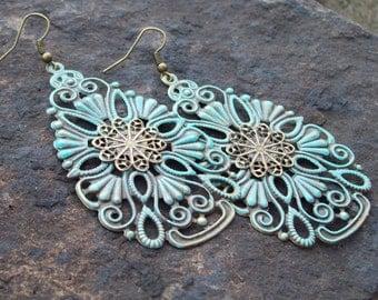 Metal Filigree Earrings, light weight Teardrop Gypsy Earrings, Turquoise Patina jewelry, shabby chic style