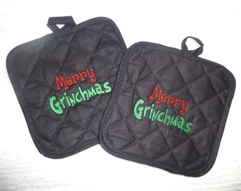 Merry Grinchmas EMBROIDERED Potholders  Set of 2 Black Free Shipping GRINCH