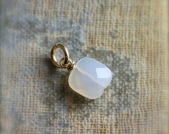 Milky White Chalcedony Charm, 14k Gold Filled Wire Wrapped Faceted Square Stone - Add a Dangle