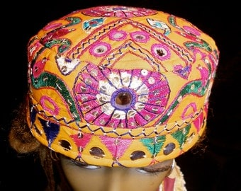 Hat Orange Pink Green Gypsy World Peace Vintage Indian Embroidery Mirror Work Sequined Cotton Hat Kufi Cap Men Women Gypsy Boho Hippie