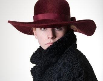 Wide Brim Marsala Beaver  Fur Felt  Hat Handmade Wide Brim Hat for Women, Floppy Hat