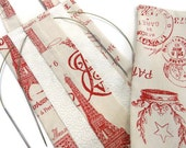 Hanging Circular Knitting Needle Organizer Red French Script Toile Case with Multiple Slots Needle Storage Available in Black
