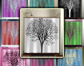 Personalized Name Oak Tree Shower Curtain Fabric Extra Long Window Panel Kids Bathroom Decor