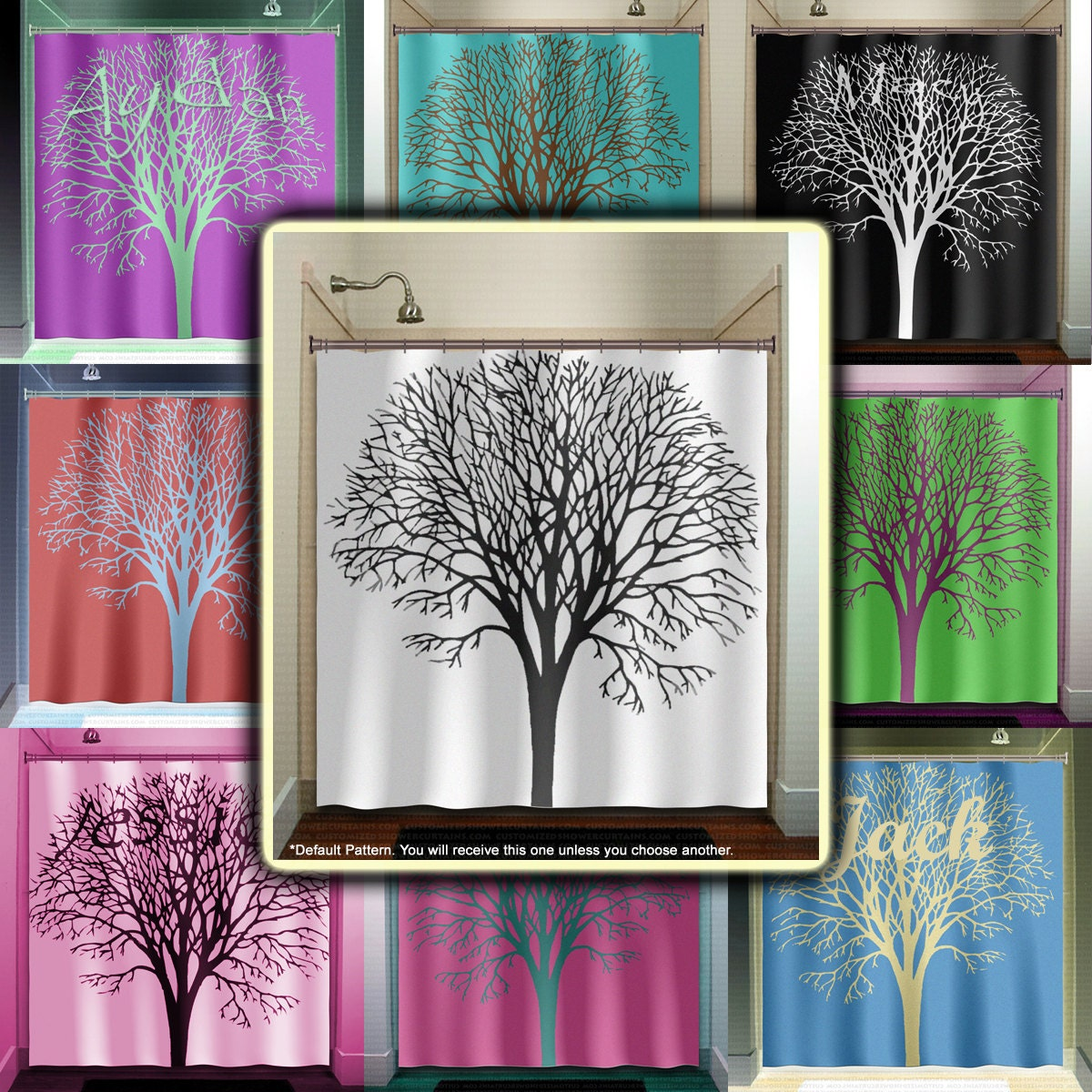 personalized name oak tree shower curtain bathroom decor fabric kids bath  window curtains panels valance bathmat - Personalized Name Oak Tree Shower Curtain Bathroom Decor