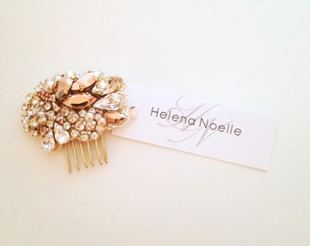 Rose Gold Crystal and Pearl Bridal Comb- Swarovski- One-of-a-Kind Hand-Beaded