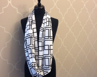 Infinity Scarf for women chiffon black and white