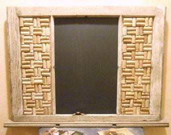Vintage Window Chalkboard, Wine Cork Board, message board