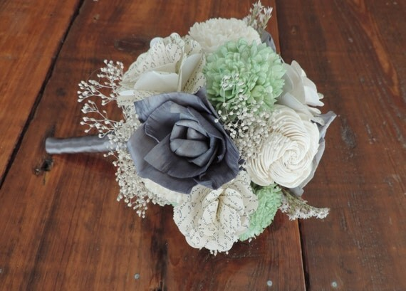 Mint and Gray Sola Bridal Bouquet with Paper Flowers