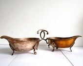 Set of 2 Antique English Gravy Boat - Silver Plated Gravy Boat Sauce Bowl Silverplated Metal Set - from England United Kingdom UK