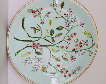 Alfred Meakin China Plate - Hand Painted English Decorative Platter - Floral on Teal - from Tunstall, England / United Kingdom / UK