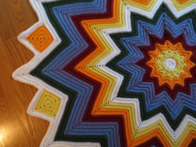 Round Ripple Afghan In Single Crochet Pattern Only