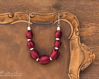 Burgundy fabric bead necklace textile necklace