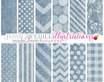 Blue Jean Cute Digital Papers Backgrounds for Personal and Commercial Use, Denim Chevron Patterns, Denim Backgrounds