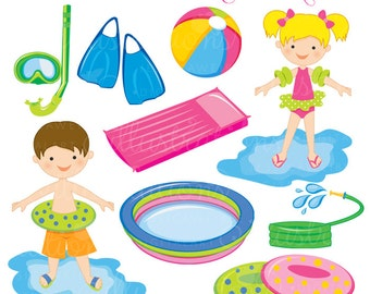 Summer Swim Cute Digital Clipart - Commercial Use OK - Swimming Graphics, Summer Clipart, Swimming Pool