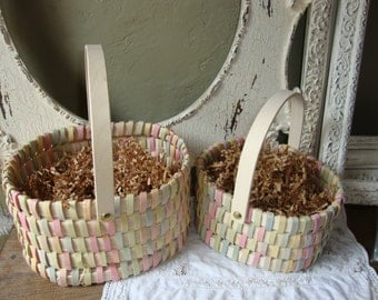 Vintage basket flower girl pink yellow ivory green wedding decorations or home decor Shabby cottage chic large baskets