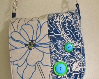 fabric handbag, bright blue floral, green, blue, oatmeal color