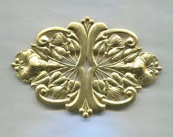 Large Art Nouveau Flower Plaque Brass Metal Stamping