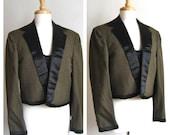 Vintage Olive Grey Vest & Jacket Suit Set with Black Satin Collar and Border Detail // 1970s