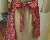 Vintage Hostess Apron, Half Apron, Floral Calico Print, Red Cotton
