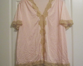 Vintage Lingerie, Pink Chemise, Lace Trim, Silky, Might Shirt, Negligee, Kayser, Pajama Top