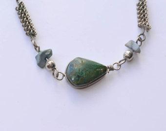 Agate Bracelet Handmade Silver Bracelet Green Agate