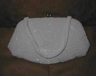 Vintage WHITE Beaded Evening Bag Purse by Richere