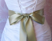 Sage Green Double Face Satin Ribbon, 1.5 Inch Wide Spring Moss Green Bridal Sash, Wedding Belt, 4 Yards