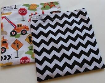 Reusable Sandwich Bag Set of Two Eco Friendly Dig It Construction Black Chevron