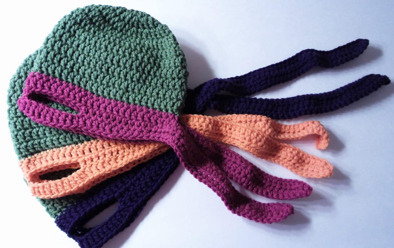 Free Crochet Pattern For Ninja Hat : Ninja Turtle Hat Crochet Pattern 3 sizes Child to Adult