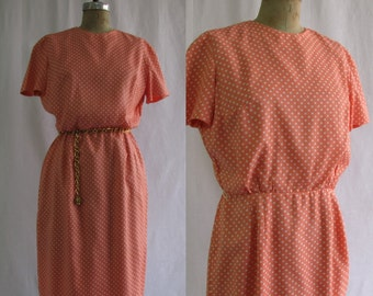 Vintage 1960s Peach with White Polka Dots Sheath Dress by Forever Young