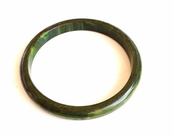 Antique Bakelite bangle bracelet dark green bangle bracelet