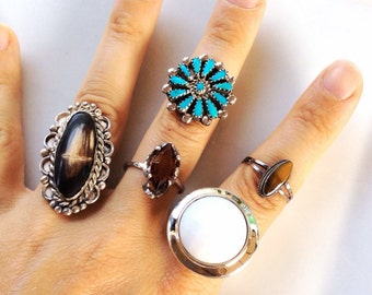 vintage tiger eye and sterling silver ring size 7-1/2 beautiful gemstone sterling ring size
