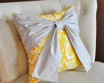 Throw Pillow Gray Bow on a Slub Yellow and White Damask Pillow 14x14 -Gray and Yellow Pillow-