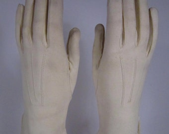 6-1/2-Vintage Ivory Leather Dress Gloves - 9 inches long(113g)