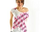 Nouvelle arrivée! De l'épaule Rose géométrique femmes t-shirt mode d'été, un côté imprimé
