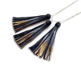 Black Tassel Necklace, Gold and Silver Dipped Necklace, Metallic Leather Necklace, Simple Minimalist Modern Jewelry