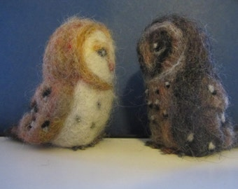 Barn Owl Pair, Black and White needle felted Barn Owls