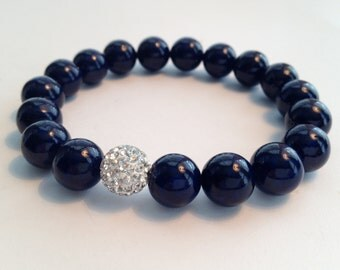 Navy Blue Beaded Bracelet