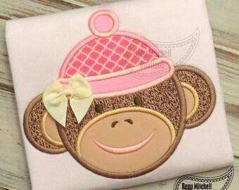 Sock Monkey applique embroidery design