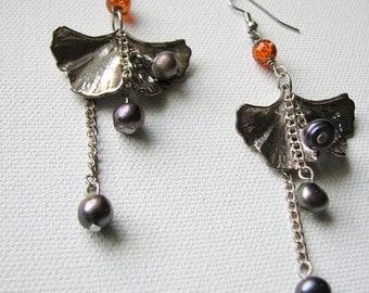 Silver leaf earrings | ginkgo | purple | fresh water pearls | dangle
