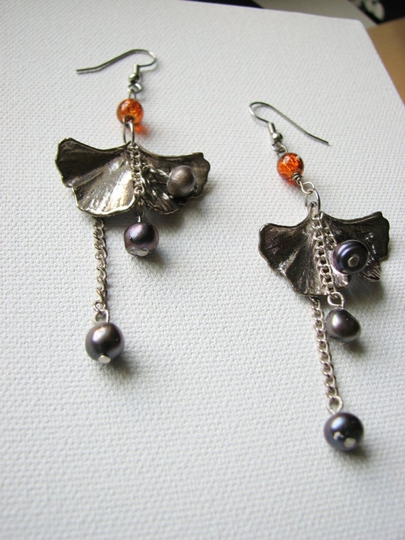 Silver leaf earrings | ginkgo | purple | fresh water pearls | dangle