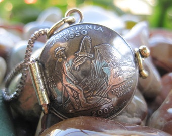 California State Quarter Locket Pendant MADE TO ORDER.