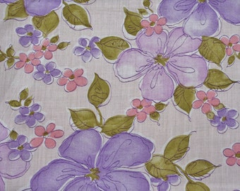 Vintage Fabric Tropical Floral Fabric Lavender Purple Pink 45 x 62 inches