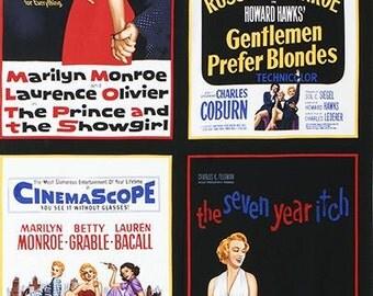 SALE! - Marilyn Monroe Hollywood Icon Movie Poster Robert Kaufman Fabric