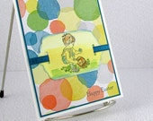 Price Slashed - Handmade Easter Card Watercolored Boy Child Easter Eggs Children