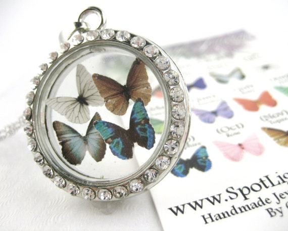 Floating Butterfly Birthstone Locket Necklace
