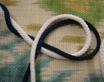 "Cotton cord 4 yards total of 1/4"" ( 6.35 mm ) navy and white cotton cord rope"