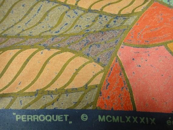 "one yard Limited edition vintage "" Perroquet"" edite par TACO. Raccord Saute cotton shine gold trim abstract fish scales retro cotton fabric"