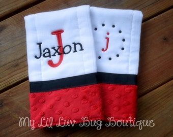 Personalized Burp cloths -red and black baby burp cloths- diaper burp cloth