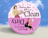 Pin Up and Housewife Clean Dirty Dishwasher Magnet - Pretty Purple - 2.25 Inches